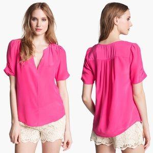 Joie Amone Hot Pink Silk Cutout Blouse